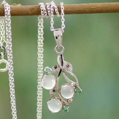 Moonstone and emerald pendant necklace, 'Moon Enchantment' - Moonstone and Emerald Necklace on Sterling Silver