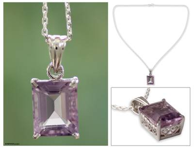 Amethyst pendant necklace, 'India Royal' - 6 Cts Amethyst Pendant on Sterling Silver Necklace