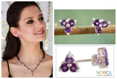 Amethyst button earrings, 'Charming Trio' - Amethyst Stud Earrings Artisan Crafted Jewelry