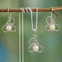 Pearl jewelry set, 'Pure Refinement' - Hand Crafted Floral Pearl jewellery Set in Sterling Silver