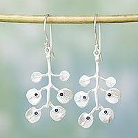 Sterling silver floral earrings, 'Morning Frost' - Indian Sterling Silver Lotus Leaves Dangle Earrings
