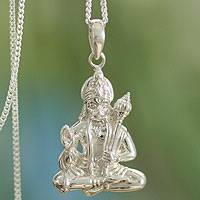 Sterling silver pendant necklace, 'Brave Hanuman'
