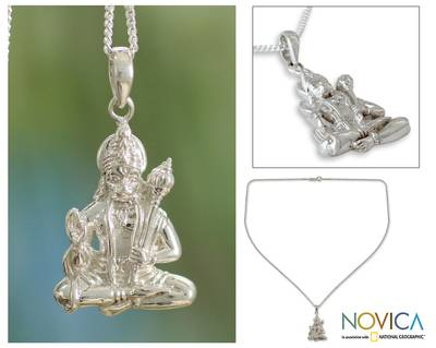Sterling silver pendant necklace, 'Brave Hanuman' - Hindu Monkey King in Sterling Silver Necklace
