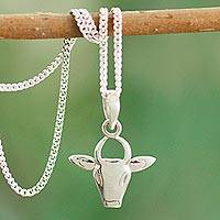 Sterling silver pendant necklace, 'Nandi the Gatekeeper' - Hindu Bull Sterling Silver Necklace