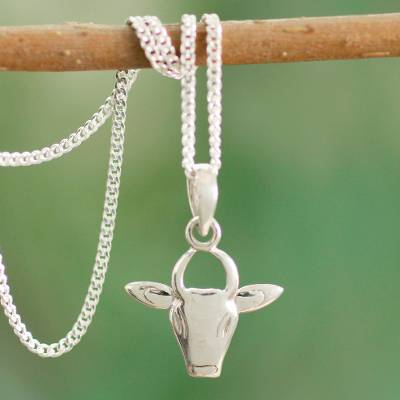Sterling silver pendant necklace, 'Nandi the Gatekeeper' - Shiva's Bull in Sterling Silver Necklace Hindu Jewelry