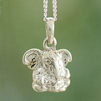 Sterling silver pendant necklace, 'Baby Ganesha'