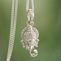 Sterling silver pendant necklace, 'Regal Ganesha' - Hand Crafted Sterling Silver Hindu Pendant  Necklace