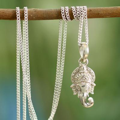 Sterling silver pendant necklace, 'Regal Ganesha' - Hand Crafted Sterling Silver Hindu Pendant  Necklace