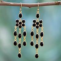 Gold vermeil onyx chandelier earrings, 'Midnight Bloom' - Onyx Gold Vermeil Chandelier Earrings