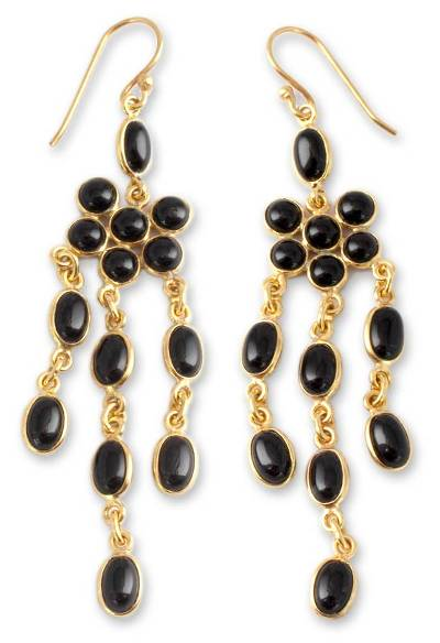 Gold vermeil onyx chandelier earrings, 'Midnight Bloom' - Onyx Gold Vermeil Chandelier Earrings