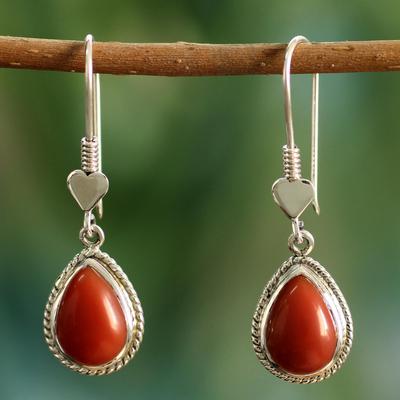 Sterling silver dangle heart earrings, 'Love Symbol' - Handmade Silver and Onyx Dangle Earrings