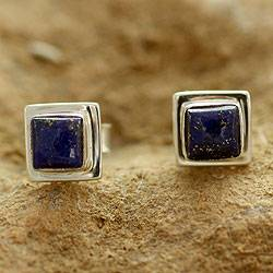 Square Lapis Lazuli Stud Earrings in Silver