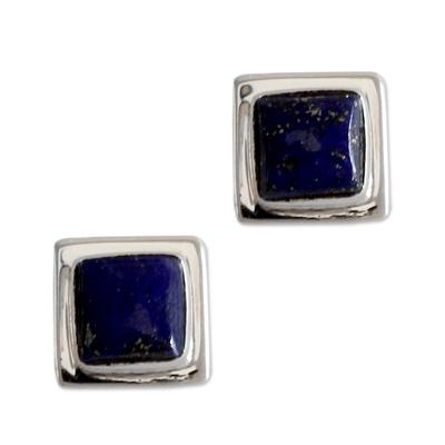 Lapis lazuli stud earrings, 'Hindu Galaxy' - Lapis Lazuli Earrings Handmade Sterling Silver jewellery Ind