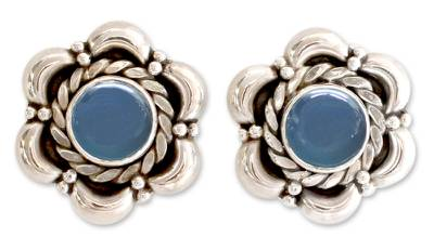 Sterling Silver and Chalcedony Earrings Floral Jewelry