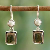 Cultured pearl and smoky quartz dangle earrings, 'Bangalore Glam' - Pearls and Smoky Quartz Earrings from India