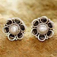 Cultured pearl flower earrings, 'Indian Gentian' - Cultured pearl flower earrings