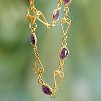 Gold vermeil amethyst heart bracelet, 'Arvalam Love' - Gold Vermeil Amethyst Heart Bracelet