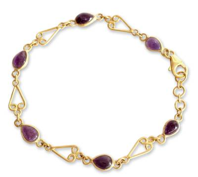Gold Vermeil Amethyst Heart Bracelet