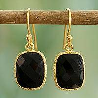 Gold vermeil onyx dangle earrings, 'Mughal Nights'