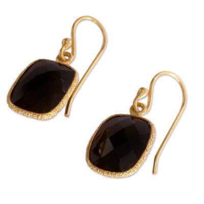 Handmade Gold Vermeil and Black Onyx Dangle Earrings India