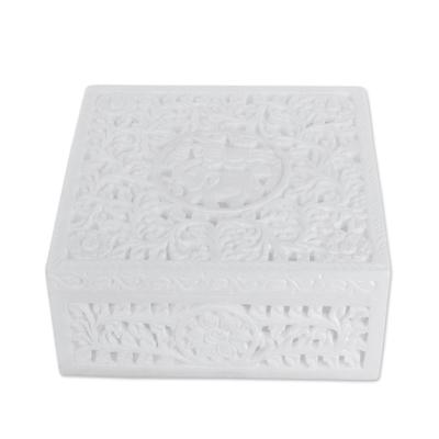 Marble box, 'Jungle Life' - Natural Marble Decorative Box Indian Jali