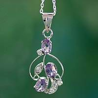 Amethyst pendant necklace, 'Wine Delight' - Hand Crafted Sterling Silver and Amethyst Necklace