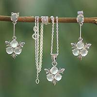 Moonstone floral jewelry set, 'Silver Clover' - Moonstone and Sterling Silver Necklace and Earrings