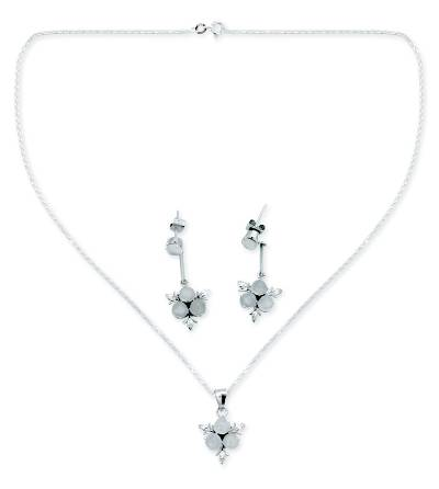 Moonstone floral jewelry set, 'Silver Clover' -  Moonstone and Sterling Silver Floral Jewelry Set