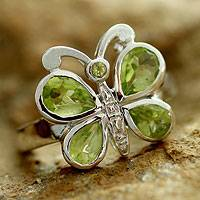 Peridot cocktail ring, 'Green Butterfly' - Hand Made Sterling Silver and Peridot Cocktail Ring
