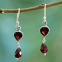 Garnet dangle earrings, 'Fiery Love' - Handcrafted Sterling Silver and Garnet Earrings