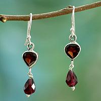 Garnet dangle earrings, 'Fiery Love'