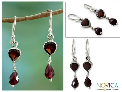 Garnet dangle earrings, 'Fiery Love' - Handcrafted Sterling Silver and Garnet Earrings