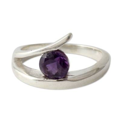Amethyst solitaire ring, 'Dazzling Love' - Sterling Silver Solitaire Amethyst Ring from India