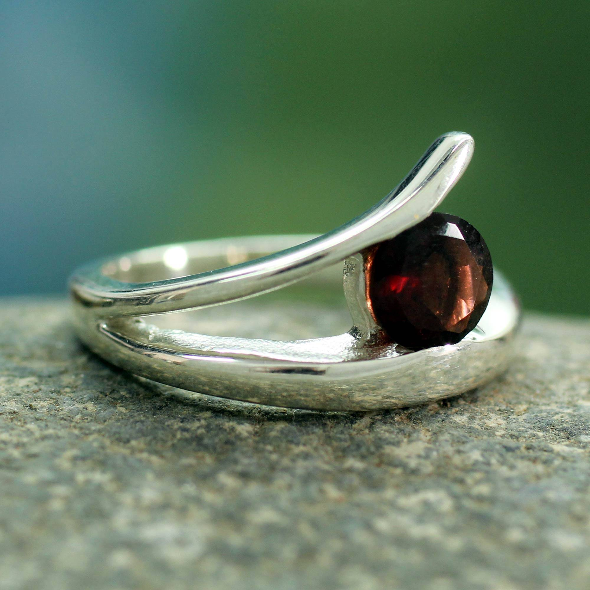 Baguette Garnet Solitaire 925 Sterling Silver Ring Chic Classic Fashion Ring Sterling Silver Gemstone Ring Contemporary Fashion Ring