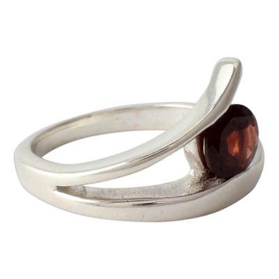 Garnet solitaire ring, 'Dazzling Love' - Handcrafted Modern Sterling Silver Solitaire Garnet Ring