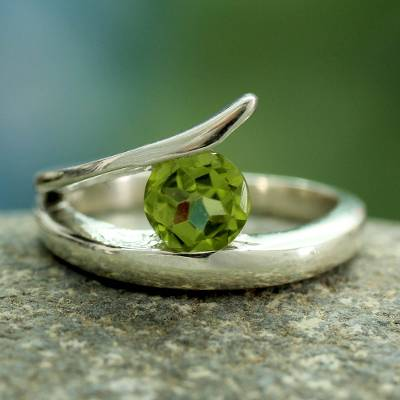 Peridot solitaire ring, 'Dazzling Love' - Artisan Crafted Solitaire Peridot Ring from India