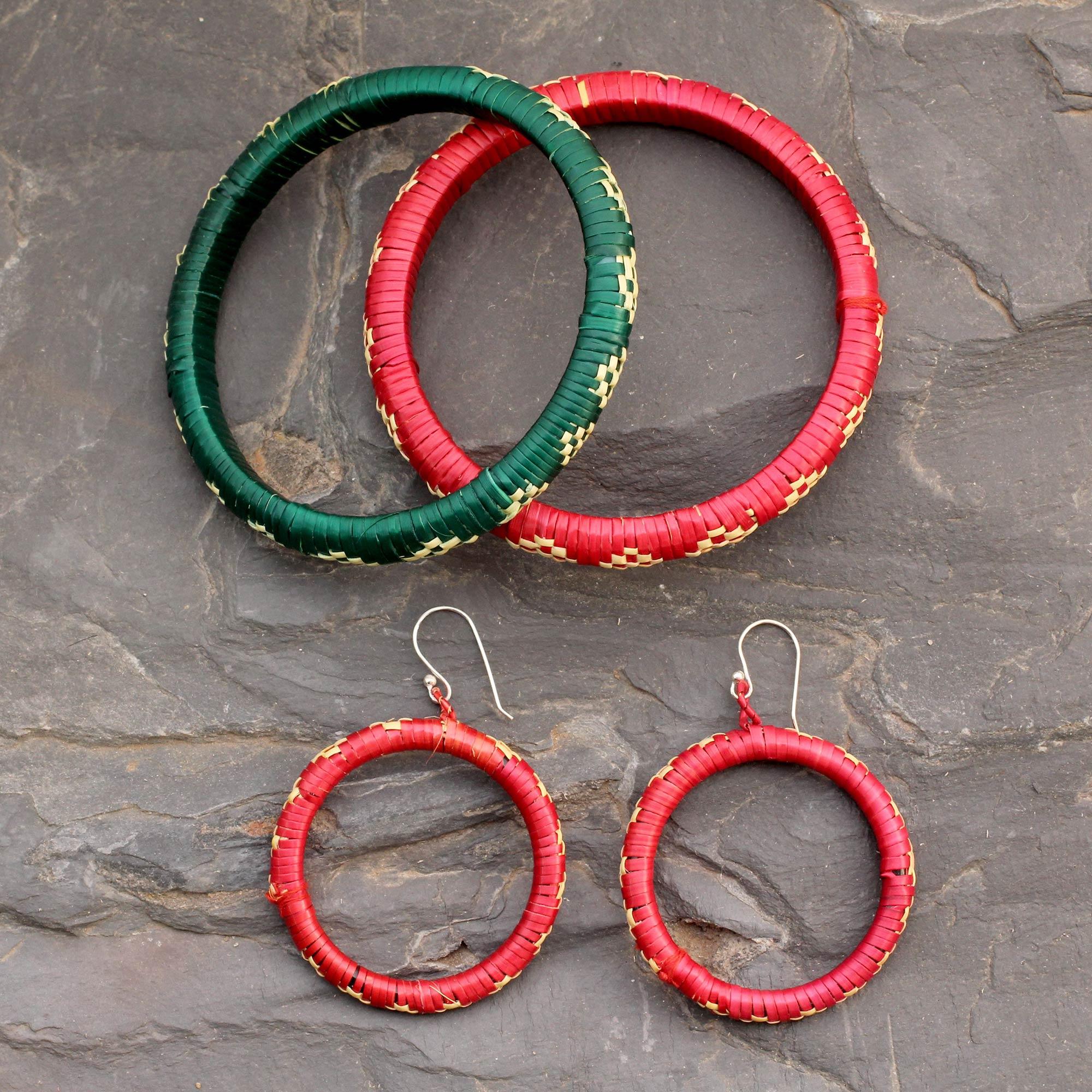 India grass jewelry set, 'Beautiful Bihar' Bollywood Jewelry