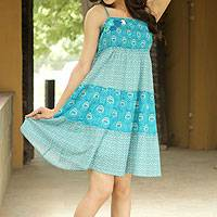 Cotton sundress, 'Indian Peacock' - Floral Cotton Patterned Short Dress