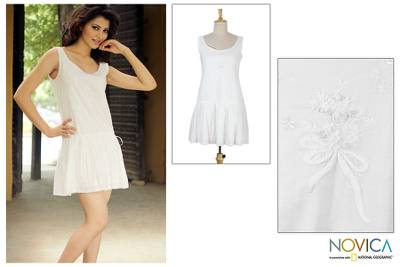 Cotton dress, 'Summer Bouquet' - Floral Cotton Embroidered Short Dress