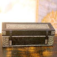 Nickel plated brass and leather jewelry box, 'Midnight Whisper' - Floral Leather and Brass Jewelry Box