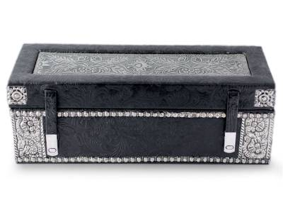 Nickel plated brass and leather jewelry box, 'Midnight Whisper' - Floral Leather and Brass jewellery Box