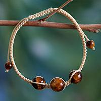 Tiger's eye Shambhala-style bracelet, 'Lucky Tranquility' - Hand Made Cotton Shambhala-style Tigers Eye Bracelet