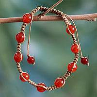 Carnelian Shambhala-style bracelet, 'Blissful Energy'