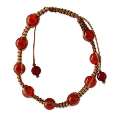 Carnelian Shambhala-style bracelet, 'Blissful Energy' - Cotton and Carnelian Artisan Crafted Shambhala Bracelet
