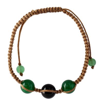 Green and Black Onyx Hand-braided Shamballa Bracelet
