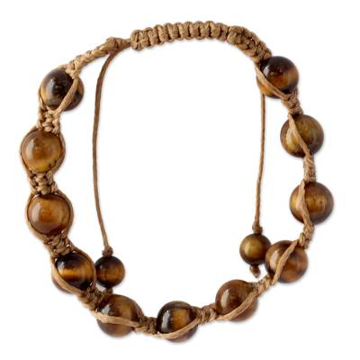 Tiger's eye Shambhala-style bracelet, 'Oneness' - Hand Crafted Cotton Shambhala-style Tigers Eye Bracelet