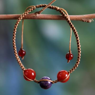 Carnelian and charoite Shambhala-style bracelet, 'Transformative Tranquility' - Handcrafted Cotton Beaded Carnelian Bracelet from India