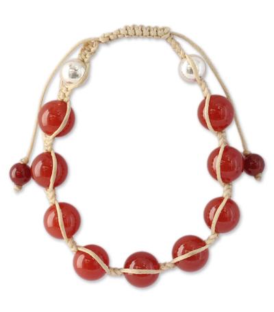 Handmade Cotton and Carnelian Shamballa Bracelet