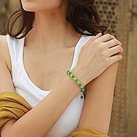 Jade Shambhala-style bracelet, 'Oneness' - Jade Shambhala-style Bracelet Beaded Handmade Jewelry