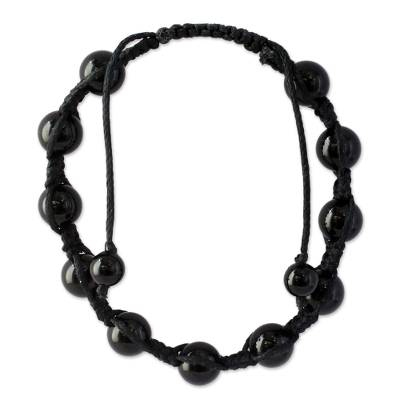 Onyx beaded bracelet, 'Oneness' - Onyx Beaded Macrame Bracelet Handmade Jewelry from India
